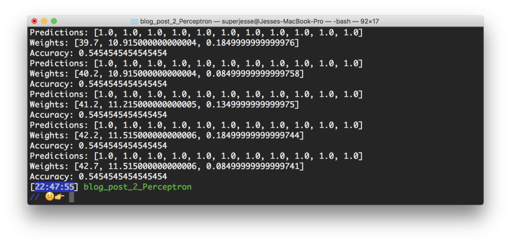 Terminal output from the ruby perceptron